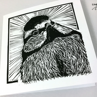 Blue tit card, Linocut print, Bird card, Hand printed card, Limited edition