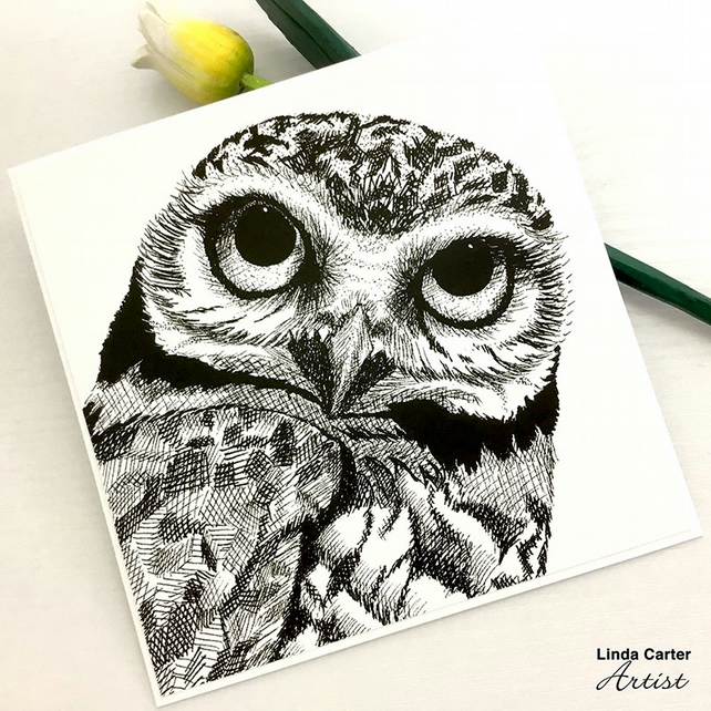 Owl card, Bird card, Owl art, Owl gift, Home decor