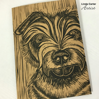 Norfolk terrier card, linocut dog card, Norfolk terrier print, Dog lovers