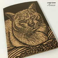 Sleeping cat card, Cat linocut card, card for cat lovers, Cat print