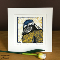 Blue tit linocut reduction print, limited edition, bird print, home decor