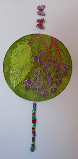 Hand painted Unique silk hoop :Elder with Aventurine Pendant