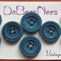 Vintage Blue Ridged 'Five Star Jeans' Buttons 8x18mm