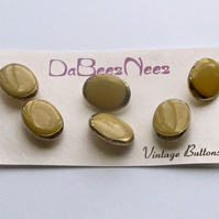 Vintage Mushroom Coloured, Golden Edge, 1960's-70's, Post Back Buttons,6x 19mm