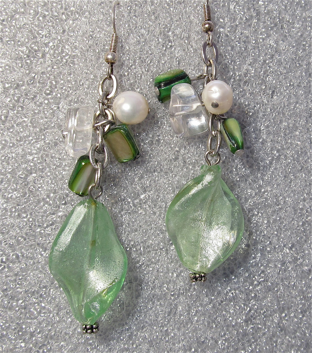 Green Glass Beads Mother of Pearl Nuggets & White Potato Pearls Cluster Earrings