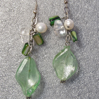 Handmade Earrings with Green Glass Beads, Green MOP Chips & Potato Pearls
