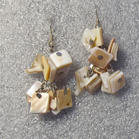 Cream Mother Of Pearl Chips & Nuggets, Sterling Silver Hooks, Cluster Earrings,