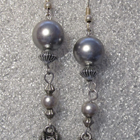 Handmade Earrings, Grey Glass Pearls & Silver Coloured Beads. SS. Hooks