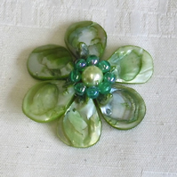 Green MoP Shell Petal Flower with Beads  (64mm)