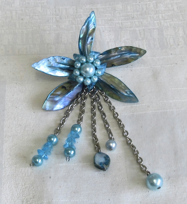 Large Light Blue MoP Shell Flower with Chains & Pearls & Beads