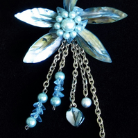 Shell Pendant: Large Light Blue MoP Shell Flower with Chains, Pearls & Beads