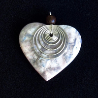 Stone Heart Pendant: Grey, Blue & Pink with Wooden Bead & Wirework Spiral Design