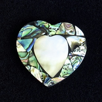 Abalone & Mother of Pearl Heart Pendant