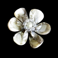 Shell Flower: Cream Mother of Pearl Leaf Nuggets with Acrylic & Glass Beads
