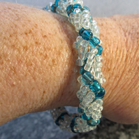 Light Blue Silver Lined & Swiss Blue Seed Bead Spiral Weave Bracelet, Handmade