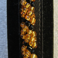 Gold & Black Chunky Handmade Spiral Weave Glass Beaded Bracelet OOAK