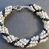 Handmade Silver Lined & Black Spiral Weave Chunky Seed Bead Bracelet
