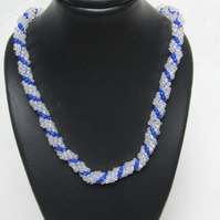 Handmade Silver Lined & Cobalt Blue Spiral Weave, Slim Seed Bead Necklace
