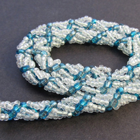 Light Blue Silver Lined &  Swiss Blue Seed Bead Handmade Spiral Weave Necklace