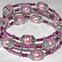 Pink Glass Pearls and Seed Beads with Silver-Tone Accents Memory Bangle