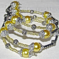 Yellow Glass Pearls, Seed Beads, Black Beads & Silver-tone Memory Bangle