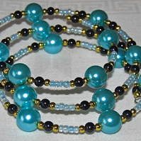 Baby Blue Glass Pearls, Seed Beads & Gold-tone Accents Memory Bracelet