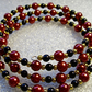 Cranberry Glass Bead & Black Bead Bracelet with Gold-tone Accents