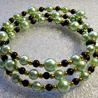 Apple Green Glass Pearls, Black and Gold-tone Beaded Memory Bangle