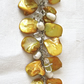 White Potato Pearl and Butter Yellow Mother of Pearl Bracelet