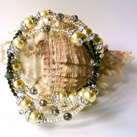 Memory Wire Bracelet: Yellow Glass Pearls, Black & Silver-tone Embellishments
