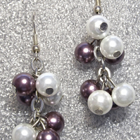 Purple & White Glass Pearl Cluster Earrings with Sterling Silver Hooks