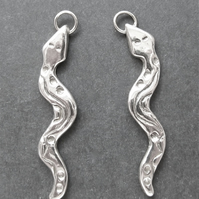 Earrings: Fine Silver Snakes, 99.9% Pure Silver, St. Silver Shepherd's Hooks