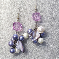Purple Cluster Earrings, Mother of Pearl Nuggets & White Glass Pearls