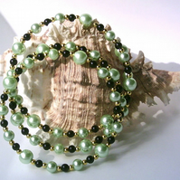 Memory Wire Bracelet: Apple Green Glass Pearls, Black & Golden Embellishments