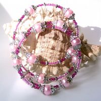 Pink Glass Pearls Cuff Bracelet, with Seed Beads & Silver-tone Accents