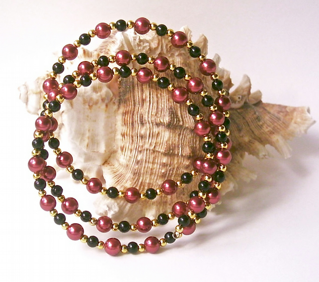 Memory Wire Bangle of Cranberry Glass Beads, Black Beads & Gold-tone Accents