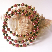 Memory Wire Bracelet: Cranberry Glass Beads, Black Beads & Gold-tone Accents
