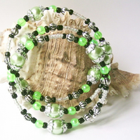 Green Glass Pearls, Green, Black and Silver-tone Beads, Memory Bracelet