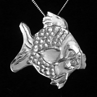Silver Pendant: Freddy, the Cartoon Fish with a Sterling Silver Chain