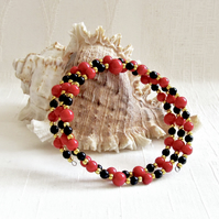 Scarlet, Black & Gold Beaded Bangle, Cuff, Memory Wire Bracelet