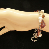 Bracelet: Coffee-Coloured Brown Mother of Pearl Nuggets with White Potato Pearls