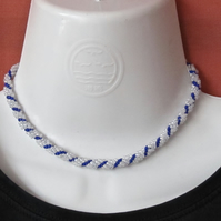 Choker: Silver Lined & Cobalt Blue Seed Beads, Slim Spiral Weave