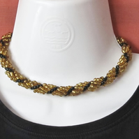 Chunky Choker:  Large Gold & Black Seed Bead Spiral Weave Necklace