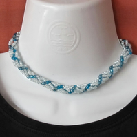 Chunky Choker: Light Blue & Swiss Blue Seed Bead Spiral Weave Rope Necklace