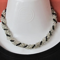 Chunky Choker with Silver Lined & Black Seed Beads in a Spiral Rope Weave