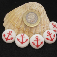 Vintage Buttons, Red Anchor on White Bed, 5x 19mm