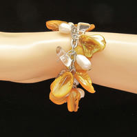 Bracelet: Yellow Mother of Pearl & White Potato Pearl Bracelet