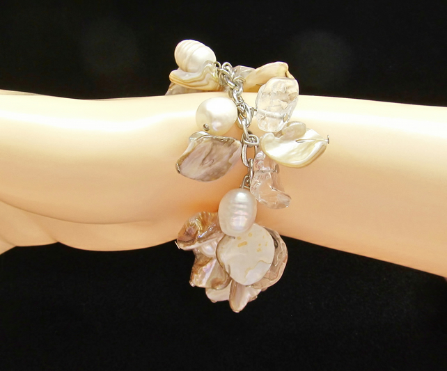 Cream Mother of Pearl & Real White Potato Pearls in a Cluster Bracelet