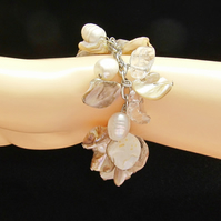 Bracelet: Cream & Oatmeal Coloured Mother of Pearl & White Potato Pearls