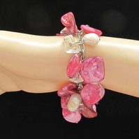 Hot Pink Mother of Pearl Nuggets & Real White Potato Pearls Cluster Bracelet